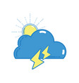 cute cloud with sun and thunder weather vector image