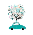 Floral tree on the car roof vector image vector image
