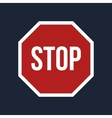 stop sign on black background vector image