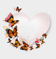 Greeting card with colorful butterflies and heart vector image