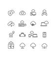 Cloud computing line icons vector image