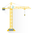 flat style yellow tower building crane icon vector image