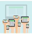 hand with tablet flat responsive design vector image