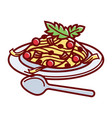 italian paste with delicious bolognese sauce and vector image