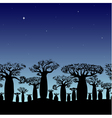 seamless border of baobabs silhouette on night sky vector image