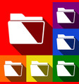 Folder sign set of icons vector image