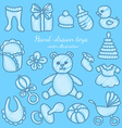 Hand-drawn Baby Icons Set vector image