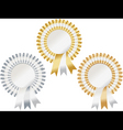 gold silver bronze rosettes vector image vector image