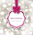 Greeting Card with Bow Ribbon on Light Background vector image vector image