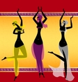Three oriental girls dancing vector image