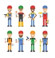 Cartoon workers and other tools under construction vector image