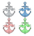 anchor with ribbon banner colored icons vector image