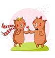 Bear in love vector image