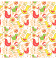 Bright colorful comics pattern with birds and leaf vector image