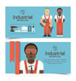 industrial banners with workmen vector image