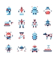 Robots - flat design icons set vector image