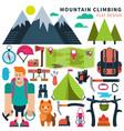 set flat icon climbing vector image