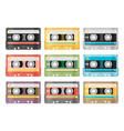 set of various audio tapes in flat style vector image