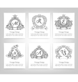 set of vintage emblems monograms vector image