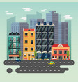 Town or city landscape with skyscrapers buildings vector image