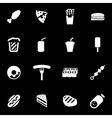 white fastfood icon set vector image