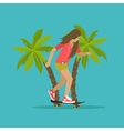 Young girl skateboarding next to palms vector image