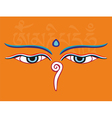 Buddha eyes or Wisdom eyes - religious symbol vector image