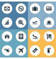 set of simple airport icons vector image vector image