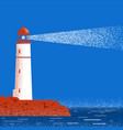lighthouse night seascape horizon vector image vector image