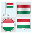 Hungary flag - sticker button label flagstaff vector image vector image