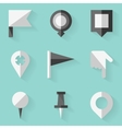 Flat icon set Push pin map White style vector image