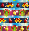 New year pattern with tree toys gift and Christmas vector image
