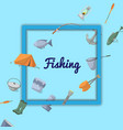fishing poster with fisher equipment icons vector image