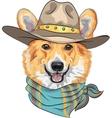 Hipster dog Pembroke Welsh corgi vector image