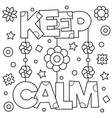 keep calm coloring page vector image