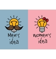 Man and woman ideas creative fun color icons vector image