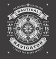nautical navigator typography on black background