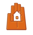 Stylized hand holding a house in the palm vector image
