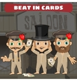 Three cowboys in the saloon playing cards vector image