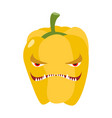 angry sweet pepper aggressive yellow vegetable vector image