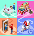 food truck pizza fast home delivery isometric vector image