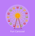 fun carousel closeup isolated on light purple vector image
