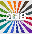 happy new year 2018 label on colorful background vector image