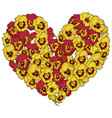 heart of red and yellow flowers isolated on white vector image