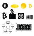 mining bitcoin symbol set vector image