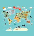 wildlife animals on the world map vector image