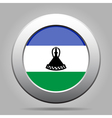 Flag of Lesotho Shiny metal gray round button vector image