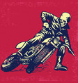 hand drawing of skull riding a vintage motorcycle vector image