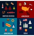 USA travel and american flat icons vector image