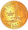 gold dollar coin vector image vector image